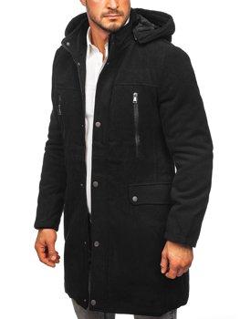 Černý pánský zimní kabát s kapucí Bolf 88873