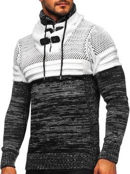 Černý silný pánský svetr s vysokým límcem Bolf 2058