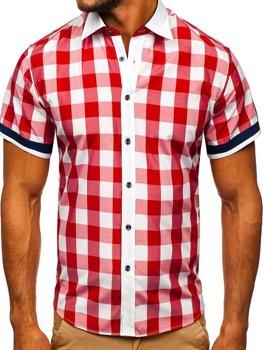 Červená pánská elegantní kostkovaná košile s krátkým rukávem Bolf 8901