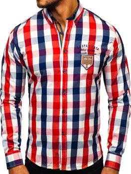 Červená pánská kostkovaná košile s dlouhým rukávem Bolf 1766-1