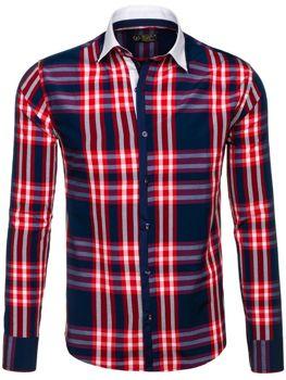 Červená pánská kostkovaná košile s dlouhým rukávem Bolf 6960