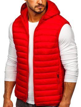 Červená pánská mikina na zip s kapucí Bolf LY36