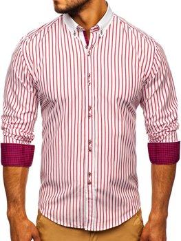 Červená pánská proužkovaná košile s dlouhým rukávem Bolf 9713