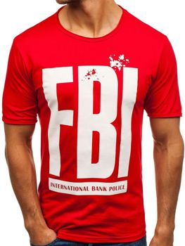 Červené pánské tričko s potiskem Bolf 6295