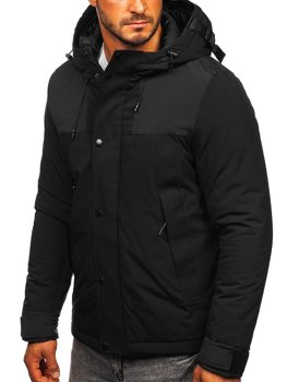 Czarna kurtka męska zimowa Denley J1905
