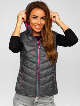 Grafitová dámská prošívaná vesta s kapucí Bolf BK037