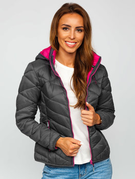 Grafitová dámská zimní bunda Bolf AB027