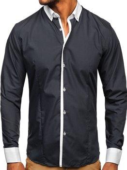 Grafitová pánská elegantní košile s dlouhým rukávem Bolf 2782