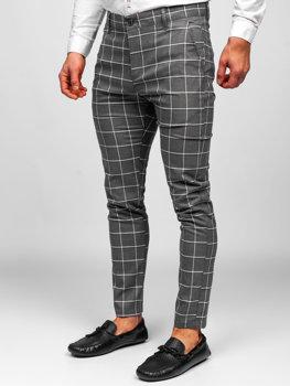 Grafitové pánské textilní karované chino kalhoty Bolf 0002