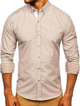 Hnědá pánská proužkovaná košile s dlouhým rukávem Bolf 9711