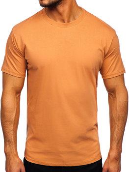 Hnědé pánské tričko bez potisku Bolf 192397