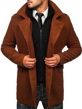 Hnědý pánský dvouřadový kabát s odepínacím límcem Bolf 8805