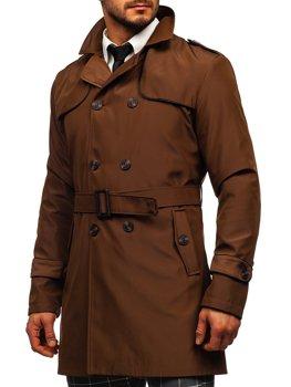 Hnědý pánský dvouřadový kabát s vysokým límcem a páskem Bolf 0001
