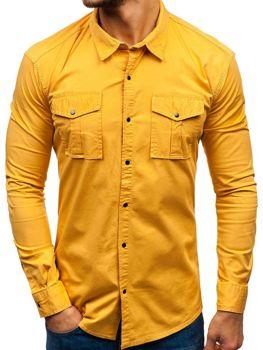 Hořcicová pánská košile s dlouhým rukávem Bolf 2058-1