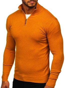 Kamelový pánský svetr na zip s vysokým límcem Bolf YY08