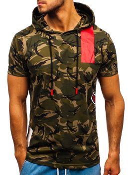 639870528f8a Khaki maskáčové pánské tričko s kapucí Bolf 304