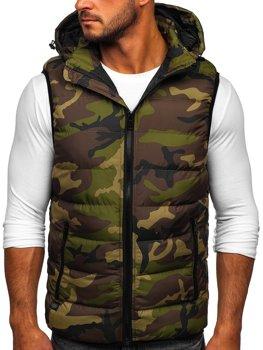 Khaki pánská prošívaná vesta s kapucí Bolf 6506