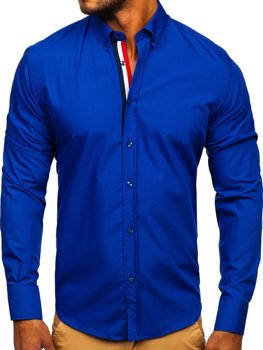 Kobaltová pánská elegantní košile s dlouhým rukávem Bolf 3713