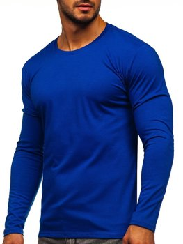 Kobaltové pánské tričko s dlouhým rukávem bez potisku Bolf 2088L
