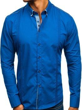 Královsky modrá pánská elegantní košile s dlouhým rukávem Bolf 8821