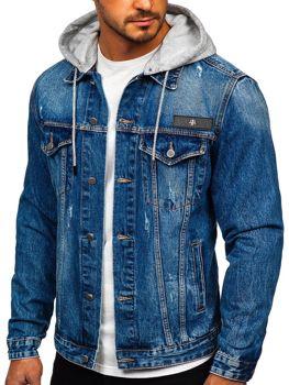 Modá pánská džínová mikina s kapucí Bolf RB9872