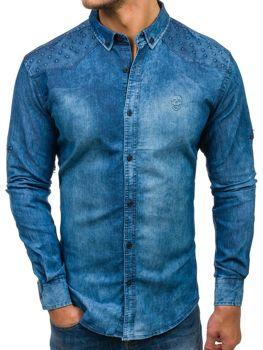 Modrá pánská džínová košile s dlouhým rukávem Bolf 0540-1