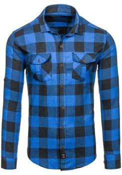 Modrá pánská flanelová košile s dlouhým rukávem Bolf 1770