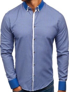 Modrá pánská vzorovaná košile s dlouhým rukávem Bolf 8806 55e74a2b04