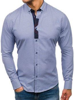 a867bfe1e3e Tmavě modrá pánská vzorovaná košile s dlouhým rukávem Bolf 8810