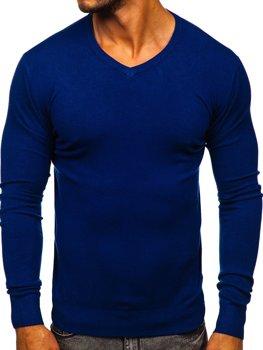 Modrý pánský svetr s výstřihem do V Bolf YY03