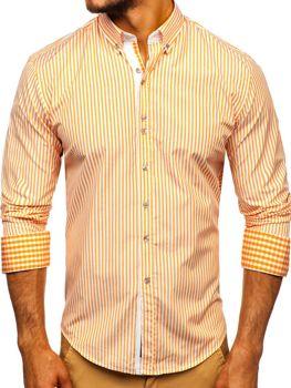 Oranžová pánská proužkovaná košile s dlouhým rukávem Bolf 9711
