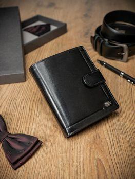 Pánská černá kožená peněženka 371