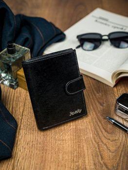 Pánská černá kožená peněženka 4513