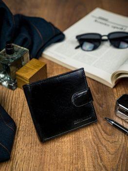 Pánská černá kožená peněženka 4588