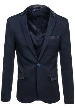 Pánské tmavě modré elegantní sako Bolf M004