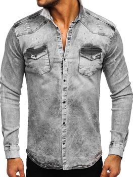 Šedá pánská džínová košile s dlouhým rukávem Bolf R709