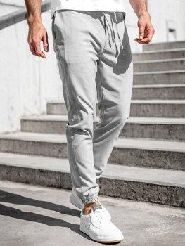 Šedé pánské textilní jogger kalhoty Bolf 0011