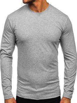 Šedé pánské tričko s dlouhým rukávem bez potisku Bolf 172007