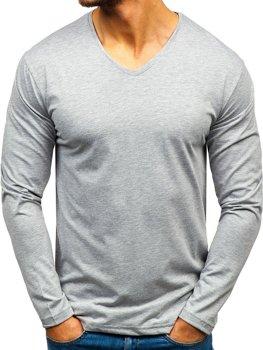 Šedé pánské tričko s dlouhým rukávem bez potisku Bolf 172008