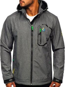 Šedo-zelená pánská přechodová softshellová bunda Bolf AB006