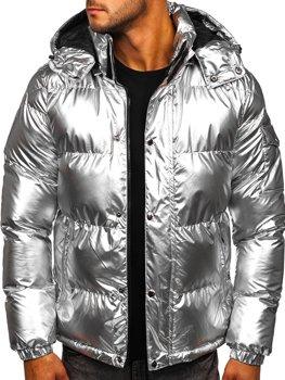 Stříbrná pánská prošívaná zimní bunda Bolf 1165