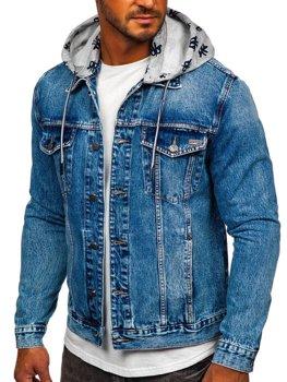 Tmavě modrá pánská džínová bunda s kapucí Bolf RB9879-1