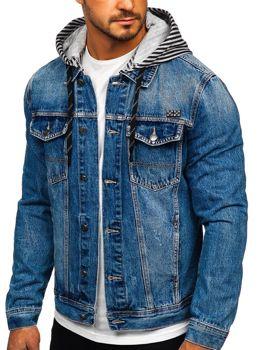 Tmavě modrá pánská džínová mikina s kapucí Bolf RB9887