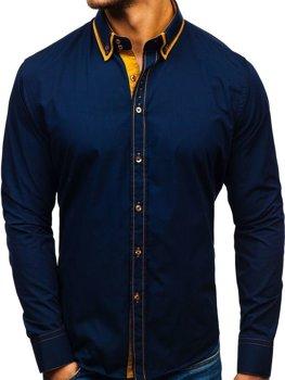 Tmavě modrá pánská elegantní košile s dlouhým rukávem Bolf 3703
