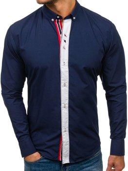 Tmavě modrá pánská elegantní košile s dlouhým rukávem Bolf 5827-1