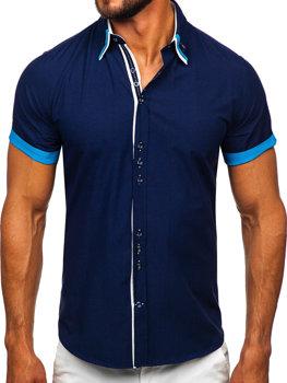 Tmavě modrá pánská elegantní košile s krátkým rukávem Bolf 2926 0e70813d44