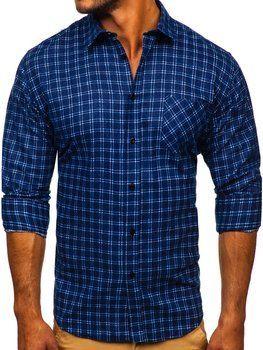 Tmavě modrá pánská flanelová košile s dlouhým rukávem Bolf F8-1