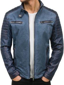 Tmavě modrá pánská kožená bunda z ekokůže Bolf EX392