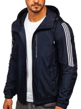 Tmavě modrá pánská p?echodová sportovní bunda s kapucí Bolf 6172