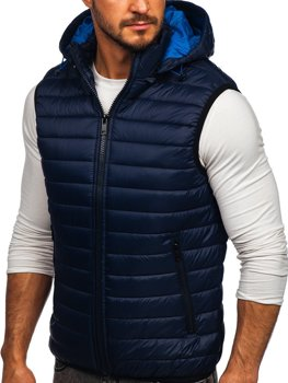 Tmavě modrá pánská prošíváná vesta s kapucí Bolf 6701